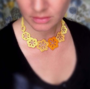 Crochet Floral Choker in Tangerine, Lemon Yellow & Gold