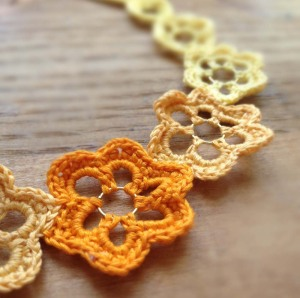 Crochet Flower Choker in Lemon Yellow, Tangerine & Gold