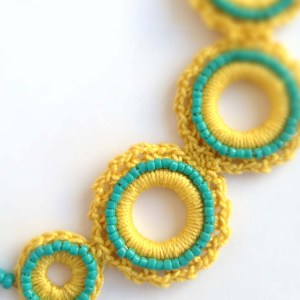 Hand Made Crochet Choker in Mustard Yellow and Turquoise