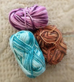 Silk Yarn in Purple, Brown and Aqua