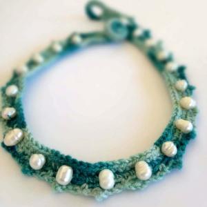 Crochet Choker, Fresh Water Pearls and Aqua Silk Yarn