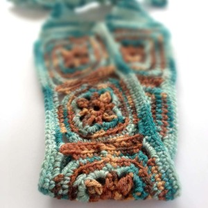 Finished Headband in Brown and Aqua and Silk Yarn
