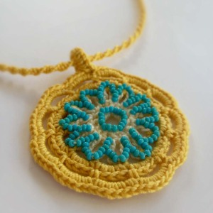 Crochet Gold Sun and Turquoise Glass Beads Pendant- FINISHED!