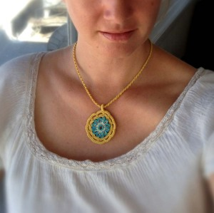 Finished Crochet Sun Pendant With Turquoise Glass Beads