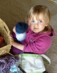 My Daughter and My Yarn Basket