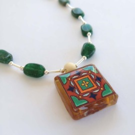 Tile Pendant With Oval Green Stones and Silver