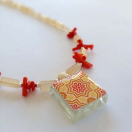 Spanish Tile With Red Coral and Rectangular, Cream Colored, Stone Beads