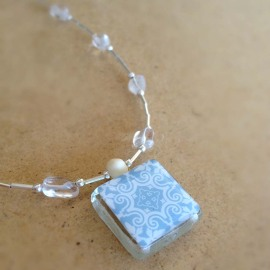 Spanish Tile Necklace in Pale Blue and White Wtih Clear Quartz and Silver