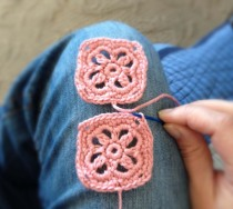 Crochet Headband - Joining Two Squares - Step Two