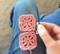 Crochet Headband - Joining Two Squares - Step Three