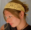 Crochet Headband Pattern - In Pale Yellow Bamboo Blend Yarn