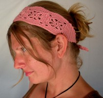 Crochet Headband in Salmon Pink (click on the picture to see this item in my Etsy Shop)