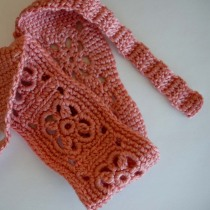 Crochet Headband in Salmon Pink Bamboo Blend Yarn - Finished!