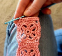 Crochet Headband in Salmon Bamboo Blend Yarn - Finish Step 1