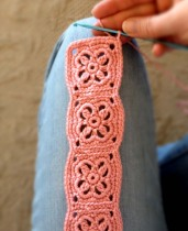 Crochet Headband in Salmon Pink Bamboo Blend Yarn - Finish Step 3