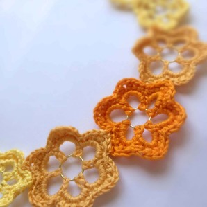 Yellow, Gold & Orange Crochet Flower Necklace