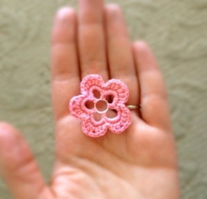 Finished Bright Pink Crochet Flower
