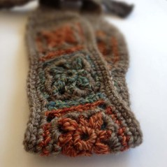 Crochet Headband, Wool in Soft Gray, Rust & Teal, Boho Chic Hairband