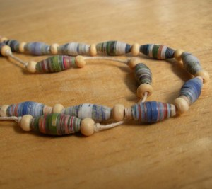 Handmade Recycled Paper Bead Necklace