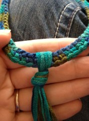 Crochet Choker Step 4 - Knot Fringe Around Choker
