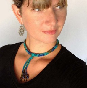 Crochet Necklace With Wood Beads In Turquoise, Blue and Olive Green
